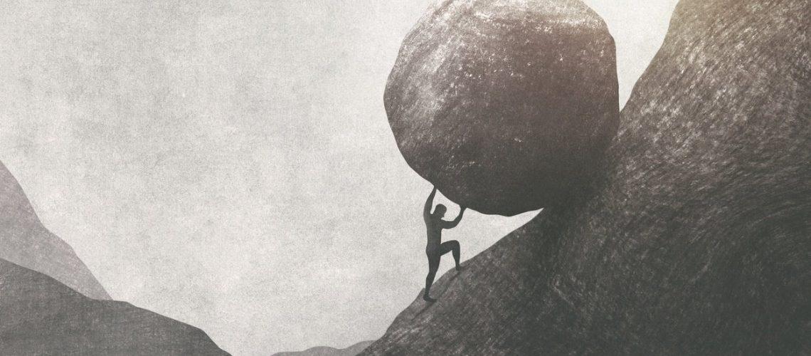 strong man pushing big rock uphill, surreal concept