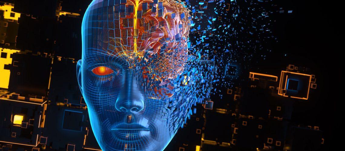 Head consisting of blocks. Artificial intelligence concept. 3D illustration